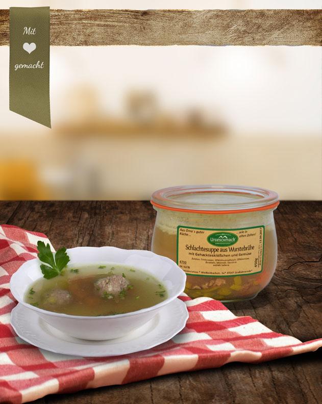 Schlachtesuppe aus Wurstbrühe