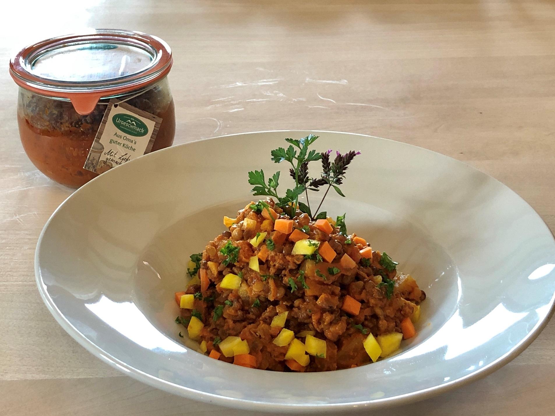 Gelbe Bete-Linsen-Curry - vegetarisch