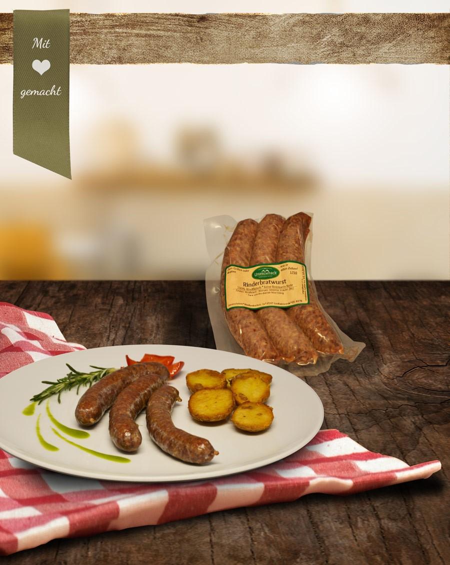 Rinder-Bratwurst mit Steinpilzen u. Rosmarin * 3erPck *